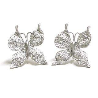 【1ペア】SV925芯!Butterfly蝶モチーフのマットシルバーカン付きピアス、パーツ