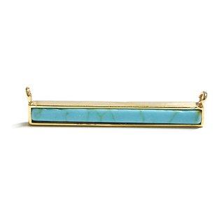 【1個】1点もの〜天然石ターコイズ(Turqoise)風Long stickゴールド両側カン付きパーツ
