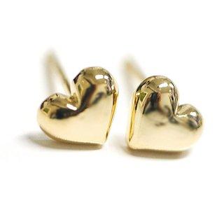 【2個(1ペア)】SV925刻印あり!Cute Heartハートモチーフ光沢ゴールドシルバー925芯ピアス
