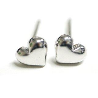 【2個(1ペア)】SV925刻印あり!Cute Heartハートモチーフ光沢シルバーシルバー925芯ピアス