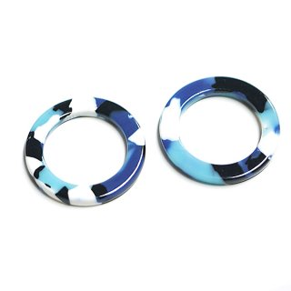 【1個入り】ブルー系26mm円形!セルロース (acetylcellulose)樹脂パーツ