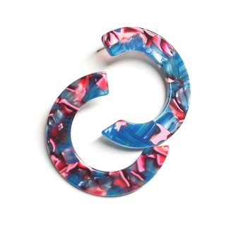 【1ペア】左右&チタン芯&!ブルー&ピンク系のカラフルなハーフサークル形!セルロース樹脂ピアス、パーツ