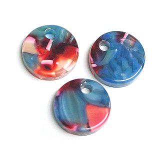 【1個入り】ブルー&ピンク系のカラフルカラー約10mm円形!セルロース (acetylcellulose)樹脂パーツ