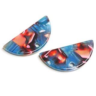 【1個】ブルー&ピンク系カラフルカラーハーフサークル形!セルロース (acetylcellulose)樹脂パーツ