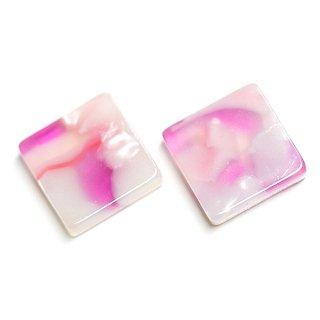 【1個】ピンク&ラベンダーカラー四角形10mmカボション!セルロース (acetylcellulose)樹脂パーツ