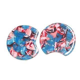 【1個】ブルー&ピンクマーブルカラー約37mm!チャーム、パーツ
