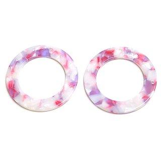 【1個】ピンク&パープル38mm円形!セルロース (acetylcellulose)樹脂パーツ