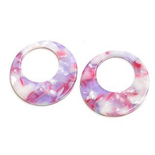 【1個】ピンク&パープル30mm円形!セルロース (acetylcellulose)チャーム、パーツ