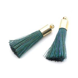 【2個入り】Shinny Green&Goldグリーン&ゴールドカラー34mmタッセル