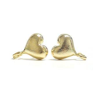【1ペア】925刻印芯!質感ある光沢ゴールドカン付きCute Heartハートシルバー925芯ピアス、パーツ
