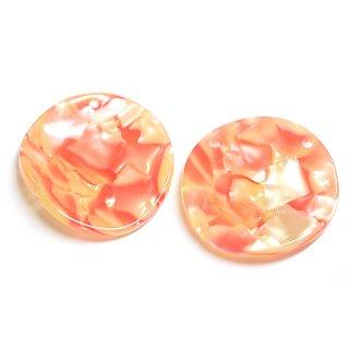 【1個】曲線の円形Orange&Yellowカラー約30mm!セルロース (acetylcellulose)樹脂パーツ