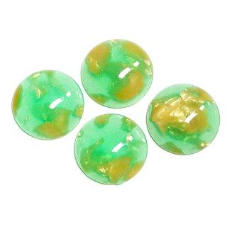 【1個】Green&Gold Jadeカラー14mm半球形カボション、ビーズ、パーツ