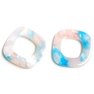 【1個】ライトピンク&アクアカラー四角形!セルロース (acetylcellulose)樹脂パーツ