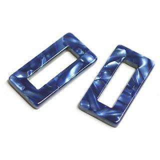【1個】ロイヤルブルーマーブルカラースクエア形!セルロース (acetylcellulose)樹脂パーツ