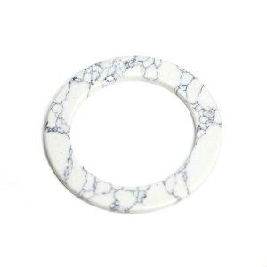 SALE【1個】穴あり!約50mmホワイトカラー模様入り合成石円形チャーム、パーツ