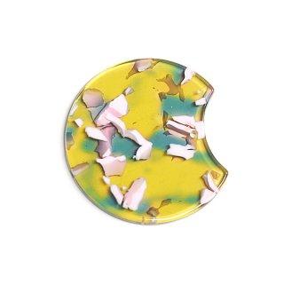 【1個入り】オリーブ&ピンクカラー37mm円形!セルロース (acetylcellulose)チャーム、パーツ
