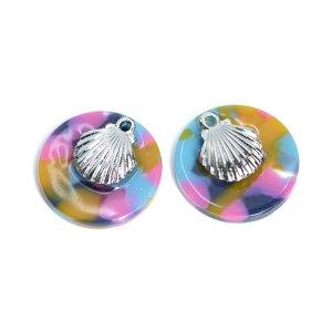 【1個】Colorful Circle&SIlver ShellヒトデSummerペンダント,チャームJP