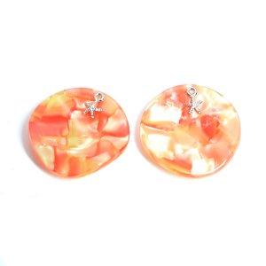 【1個】Orange Circle&SIlver StarfishヒトデSummerペンダント,チャームJP