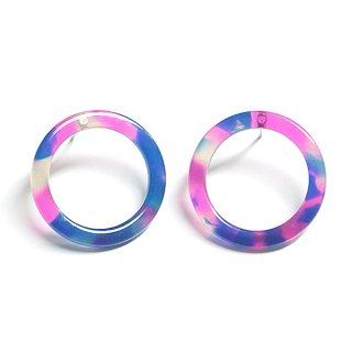 【1ペア】ネイビー&ピンクカラー22mm円形!セルロースピアス、パーツ