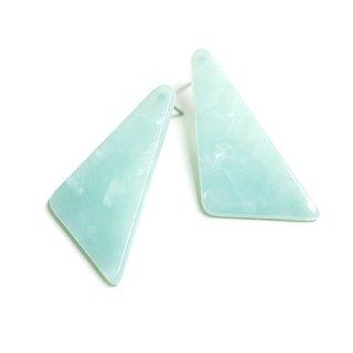 【1ペア】チタン芯!ミントJADEカラー三角形!セルロースピアス、パーツ