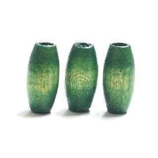 【14+2個】グリーンカラースリム楕円形ウッドビーズ 貫通