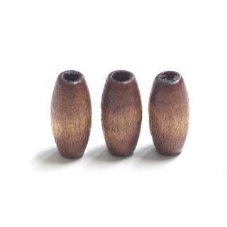 【14+2個】ブラウンカラースリム楕円形ウッドビーズ 貫通