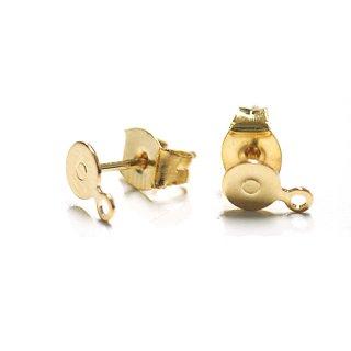 【16個(8ペア)】4.5mmピアス(カン付き)&ピアスキャッチ 16Kゴールドプレート