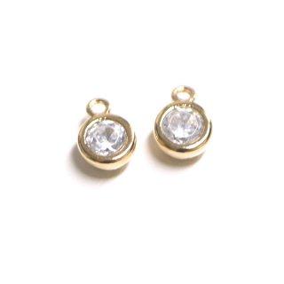 【2個】誕生石!4月ダイヤモンドカラーCZゴールドチャーム、パーツ