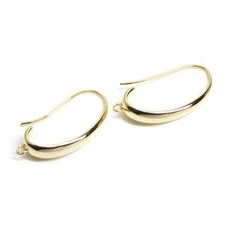【2個入り】カン付き!優美な曲線の約24mm光沢ゴールドピアスフック、パーツ