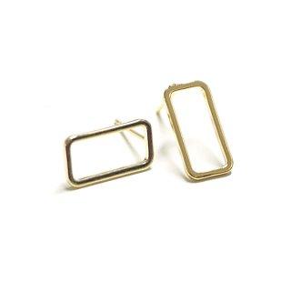 【1ペア】SV925刻印!Rectangle15mmゴールドピアス、パーツ
