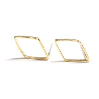 【2個(1ペア)】SV925刻印芯!12mmダイヤモンド形マッドゴールドピアス、パーツ