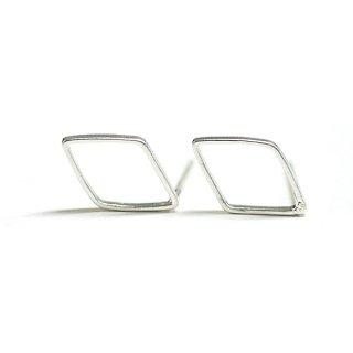 【2個(1ペア)】SV925刻印芯!12mmダイヤモンド形マッドシルバーピアス、パーツ