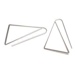 【2個入り】大ぶりトライアングル(三角形)シルバーピアスフック、パーツ