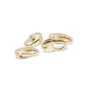 【10個入り】約10mm×6mmオーバル形ゴールド真鍮製カニカン、金具