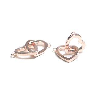 【1個】Duo Heartオープンハートピンクゴールドコネクター、チャーム