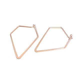 【4個入り】マットピンクゴールドSharp Triangleトライアングル形ピアスフック、パーツ