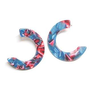 【1ペア】左右&穴あり&チタン芯!ブルー&ピンク系のカラフルなハーフサークル形!ピアス、パーツ