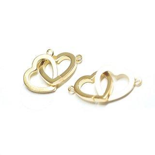 【1個】Duo Heartオープンハートマットゴールドコネクター、チャーム