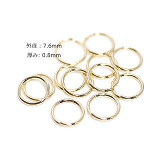 【約15g】内径約6.0mm/外径約7.6mm/厚み約0.8mm丸カン真鍮製ゴールド
