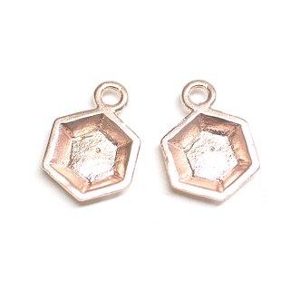 【2個】立体的な3D Petit Hexigonプチ六角形マットピンクゴールドチャーム