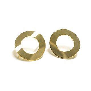 【1ペア】チタン芯!Wave Tube 約18mm円形カン付きゴールドピアス、パーツ