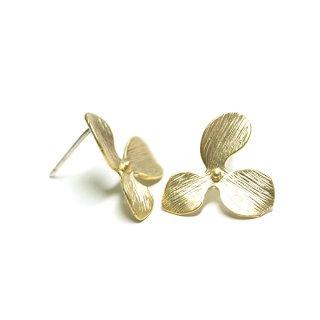 【1ペア】925刻印芯!花びらPetal Flowerマッドゴールド、シルバー925芯ピアス、パーツ