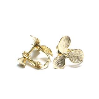 【1ペア】花びらPetal Flowerマッドゴールドネジバネ イヤリング、パーツ