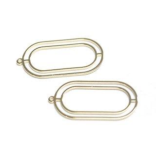 【2個入り】光沢ゴールド約16*30mm 楕円形チャーム、パーツ
