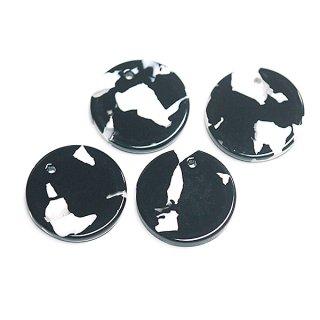 【1個】ブラック&ホワイトカラー約20mm 円形!チャーム、パーツ 066