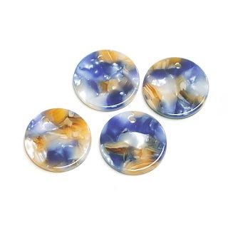 【1個】ブルー&キャメルカラー約20mm 円形!チャーム、パーツ 069