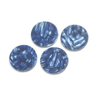 【1個】ブルーマーブルカラー約20mm 円形!チャーム、パーツ 064