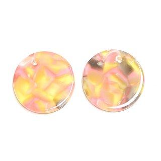 【1個】ピンク&イエローマーブルカラー約20mm 円形!チャーム、パーツ 030