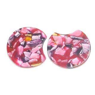 【1個】ピンク&バーガンディーマーブルカラー約37mm!チャーム、パーツ 025