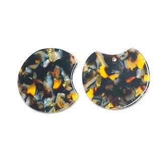 【1個】ゴールド&ブロンズマーブルカラー約37mm!チャーム、パーツ 027